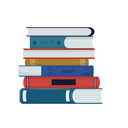 Stack of different books in cartoon style isolated on white background. Stylish design element. Education, research concept.