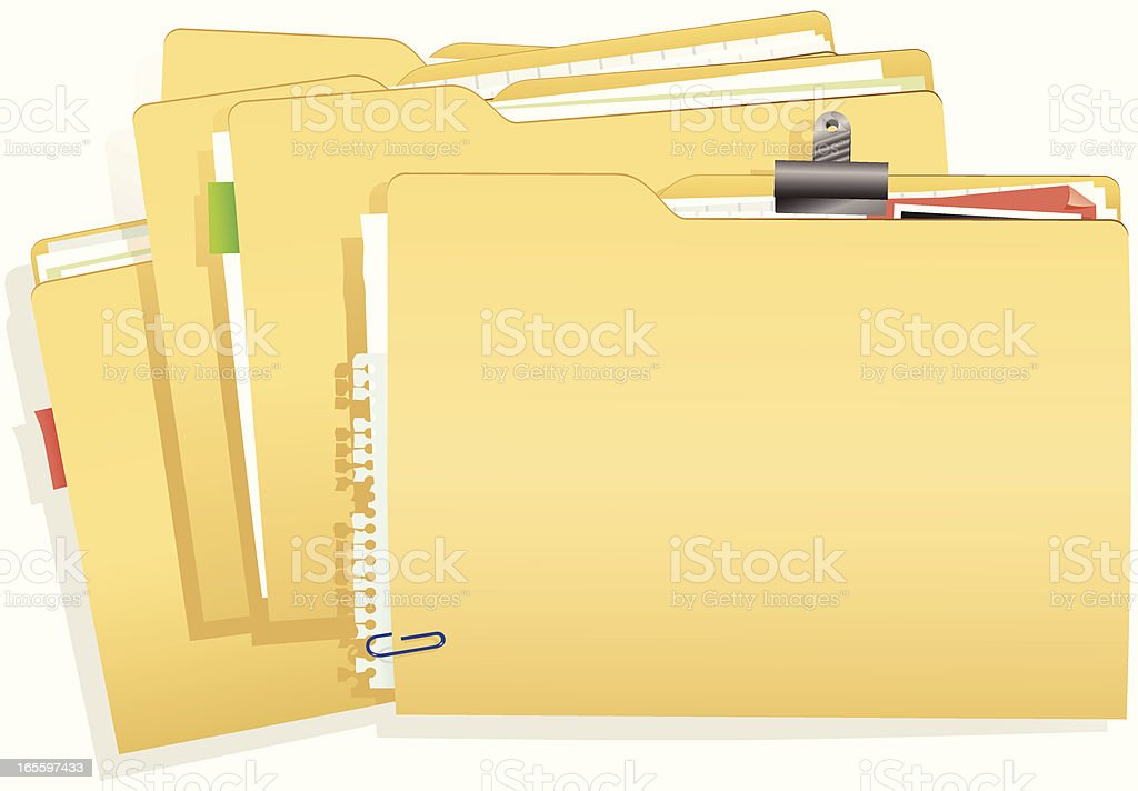 Pila de carpetas con documentos ilustración de pila de carpetas con documentos y más banco de imágenes de archivar documentos libre de derechos