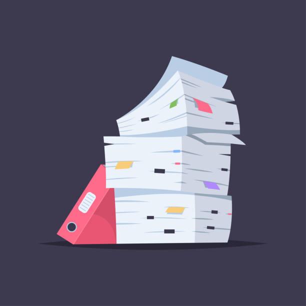 stapel von dokumenten, dateien und ordner. flache vektorgrafik cartoon büro papier stapeln isoliert auf hintergrund. - gestapelt stock-grafiken, -clipart, -cartoons und -symbole