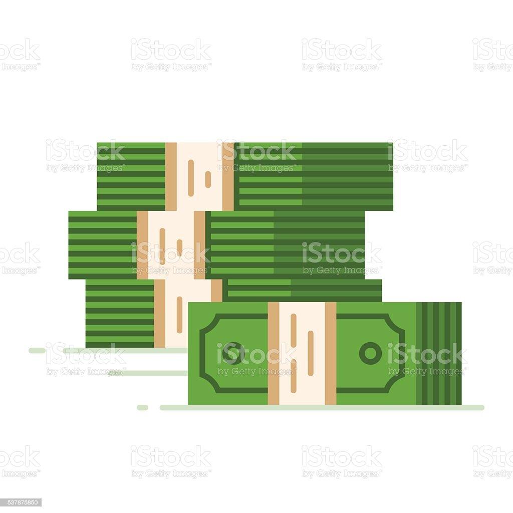 Stack of dollars. Big pile of cash. vector art illustration
