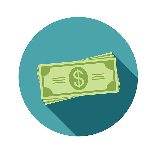 stack of dollars. paper bills or money. icon in a - banknot stock illustrations