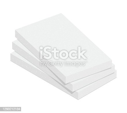 Stack of expanded polystyrene insulation material isolated on white background. Styrofoam board flat vector icon. Vector illustration XPS insulator for heat cold protection. 3D cartoon EPS foam sheets