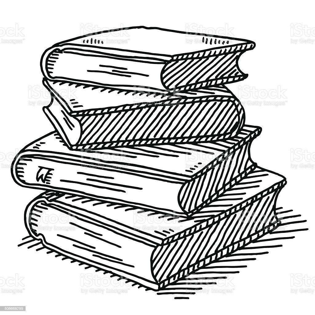 Stack Of Four Books Drawing vector art illustration