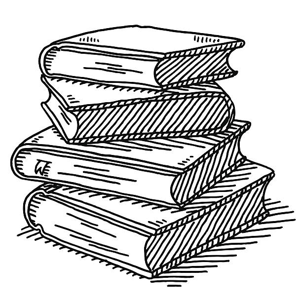 Stack Of Four Books Drawing Hand-drawn vector drawing of a Stack Of Four Books. Black-and-White sketch on a transparent background (.eps-file). Included files are EPS (v10) and Hi-Res JPG. encyclopaedia stock illustrations