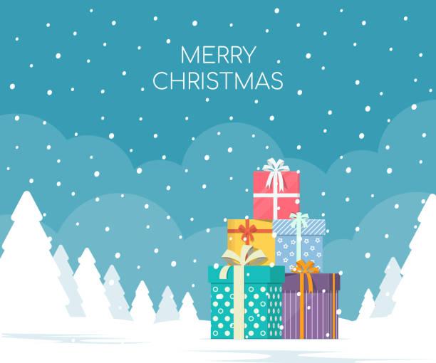 stapel von geschenk-boxen auf winter landschaft hintergrund. weihnachten-konzept. - weihnachtsmarkt stock-grafiken, -clipart, -cartoons und -symbole