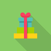 Stack of Gifts Flat Icon.