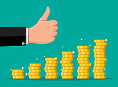 Stack of gold coins and hand with thumb up gesture. Golden coin with dollar sign. Growth, income, savings, investment. Symbol of wealth. Business success. Flat style vector illustration.