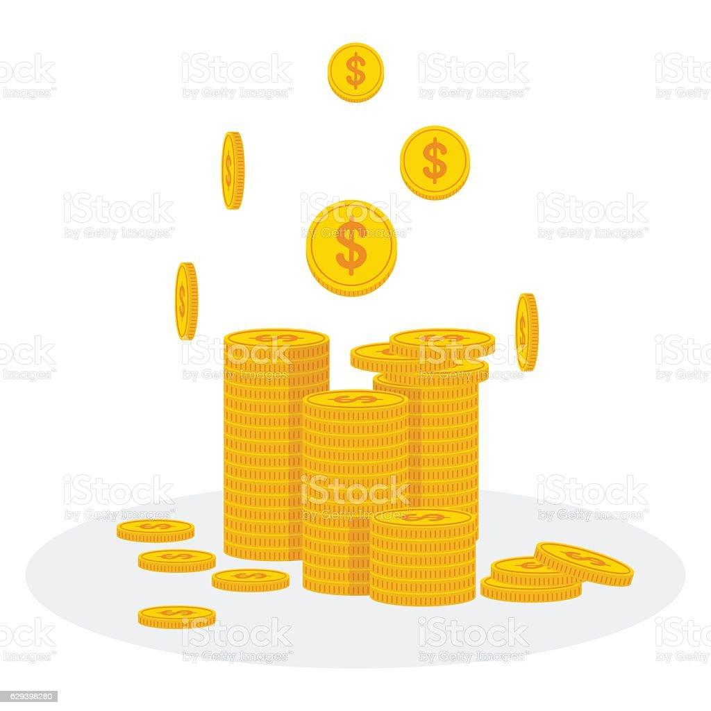 stack of gold coins vector art illustration