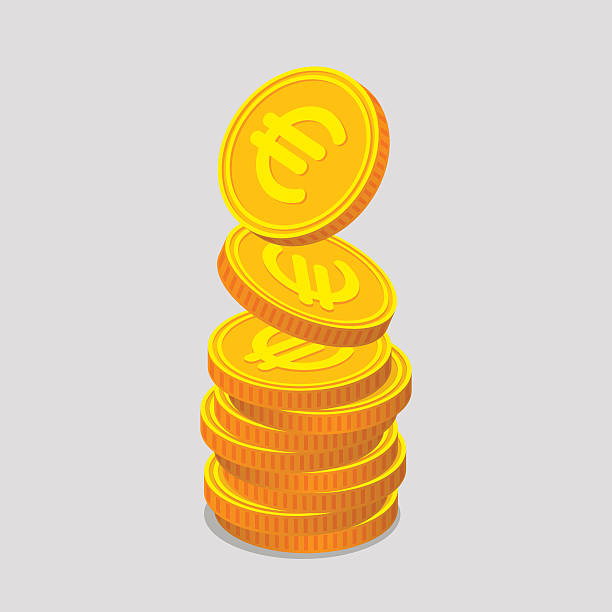 Stack of gold coins with euro signs Stack of gold coins with euro signs. Coins is falling from the top so stack is increasing. Income concept european union currency stock illustrations