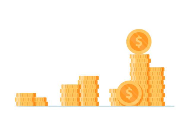 stapel von goldene münze wie einkommen diagramm. cartoon-flachen stil trend moderner einfaches logo grafikdesign isoliert auf weiss. - gestapelt stock-grafiken, -clipart, -cartoons und -symbole