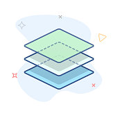 Stack of layers icon. Stack of squares outline illustration. eps 10