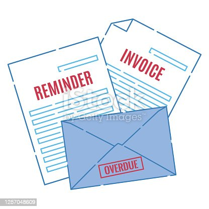Stack of letters containing an invoice, payment reminder notice and an overdue statement with a stamp. Unpaid debt final warning, envelope with past due stamp. Finance business vector illustration.