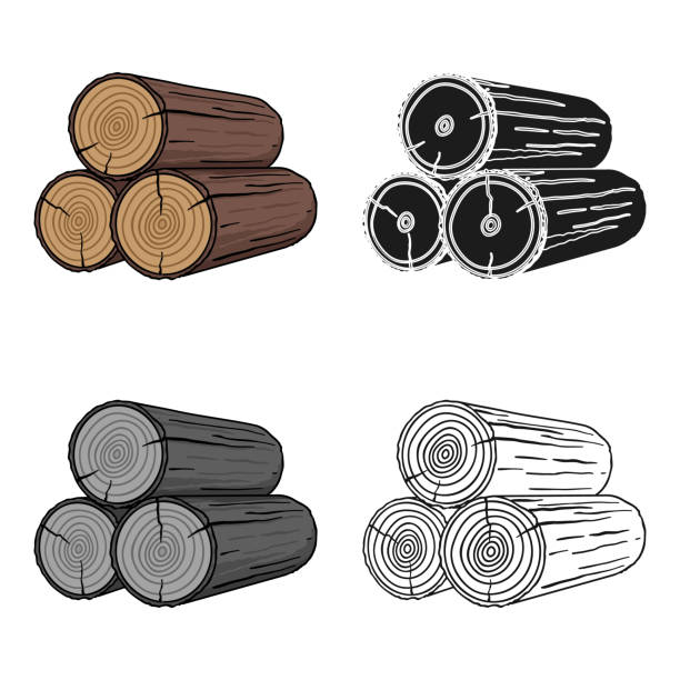 Stack of logs icon in cartoon style isolated on white background. Sawmill and timber symbol stock vector web illustration. - illustrazione arte vettoriale