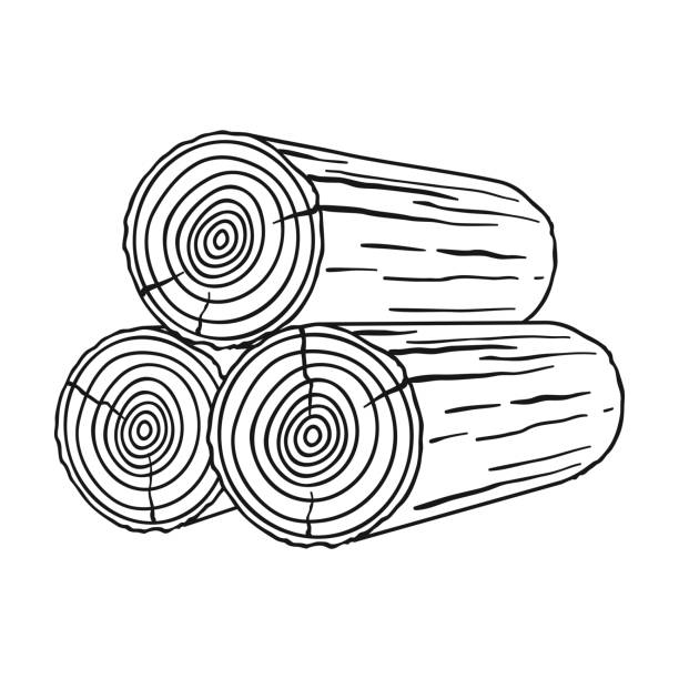 Stack of logs icon in  style isolated on white background. Sawmill and timber symbol stock vector illustration. - illustrazione arte vettoriale