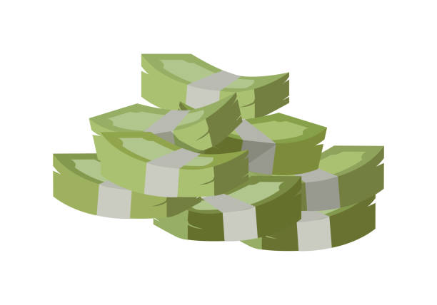 Stack of Money Vector Illustration Flat Design. Stack of money vector. Pile of banknotes in flat style design. Getting maximum profit idea. Cash for all purposes. Illustration for credit, savings, charitable concepts. Isolated on white background. alimony stock illustrations