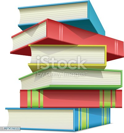 Stack of multi colored books,