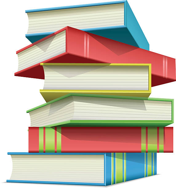 Stack of multi colored books vector art illustration