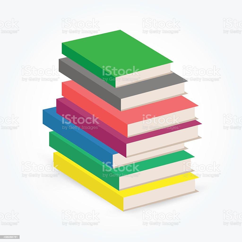 Stack of multi colored books vector art illustration