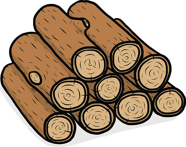 Wood Log Clip Art ~ Royalty free firewood pile clip art vector images