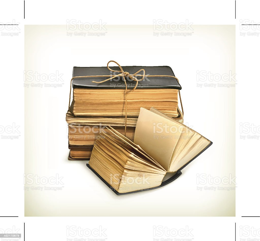Stack of old books vector art illustration