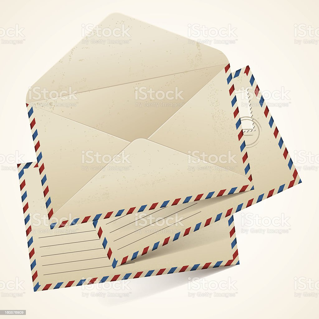 Stack of old  vintage envelopes. royalty-free stock vector art