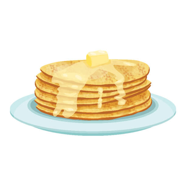 Stack of pancakes on light blue plate isolated illustration Stack of pancakes served with melted butter on top lying on light blue china plate isolated vector illustration on white background in realistic style pancake stock illustrations