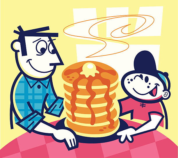 stack of pancakes! - peter bajohr stock illustrations, clip art, cartoons, & icons