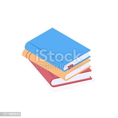 istock Stack of paper books with colorful hard cover in isometric vector illustration. 1211963523