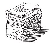 Stack Of Paper Documents Drawing