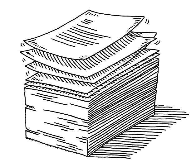Stack Of Paper Documents Drawing Hand-drawn vector drawing of a Stack Of Paper Documents. Black-and-White sketch on a transparent background (.eps-file). Included files are EPS (v10) and Hi-Res JPG. business stock illustrations