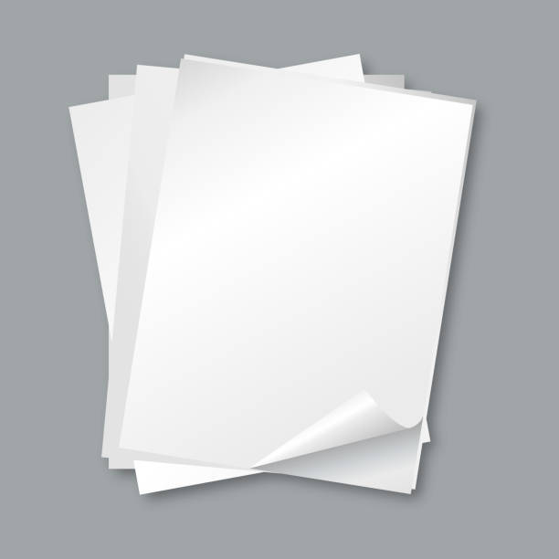 Stack of papers. Isolated blank white paper sheets, letter vector background vector art illustration