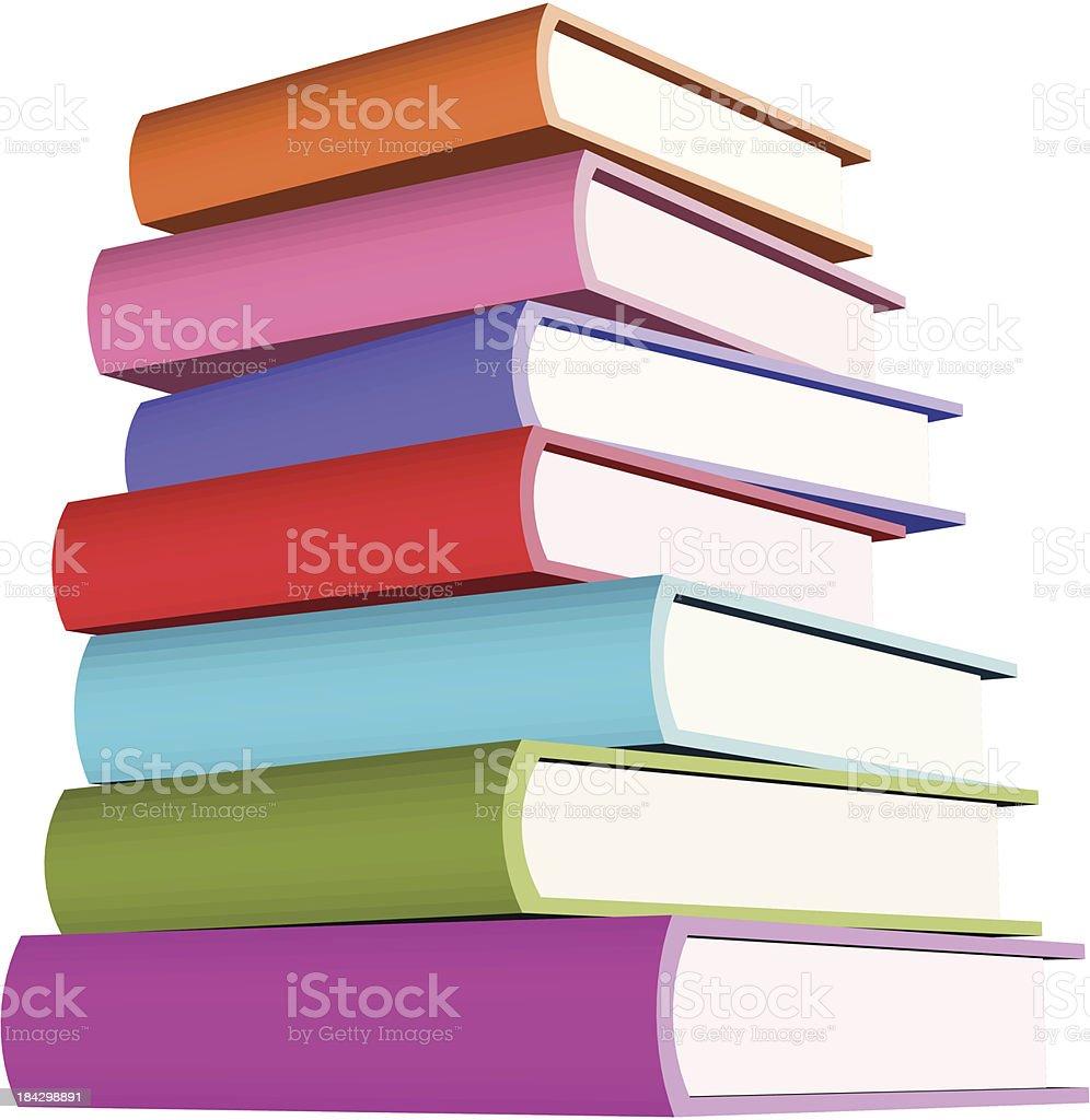 Stack of seven books - VECTOR vector art illustration