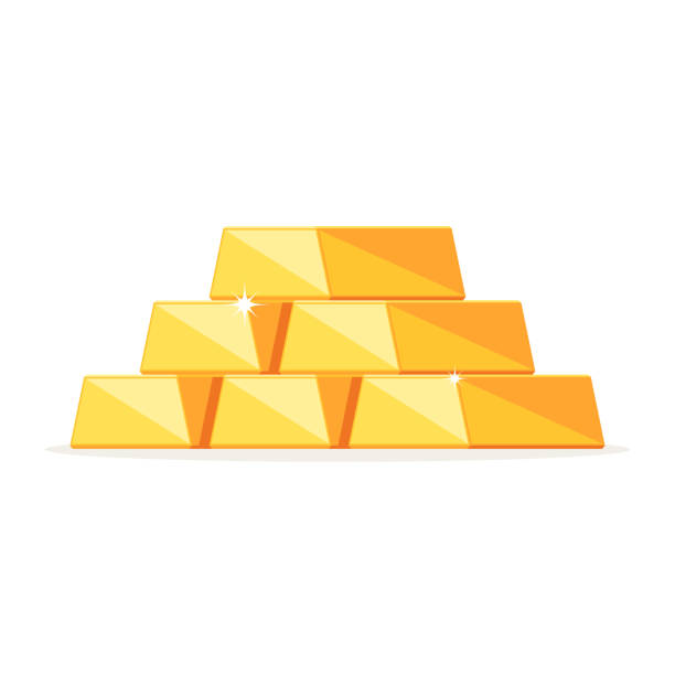 Stack of shiny gold bars Stack of shiny gold ingots, bars. Concept business success, financial growth.Vector illustration in modern flat style isolated on white background ingot stock illustrations