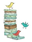 Stack of Sketchy Books With Cartoon Birds. Piled up books with silly birds hopping around.