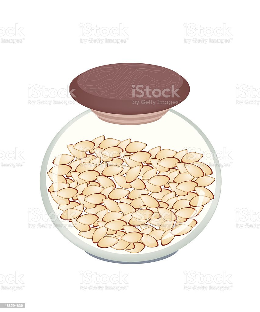 Stack of Slice Almonds in A jar royalty-free stock vector art