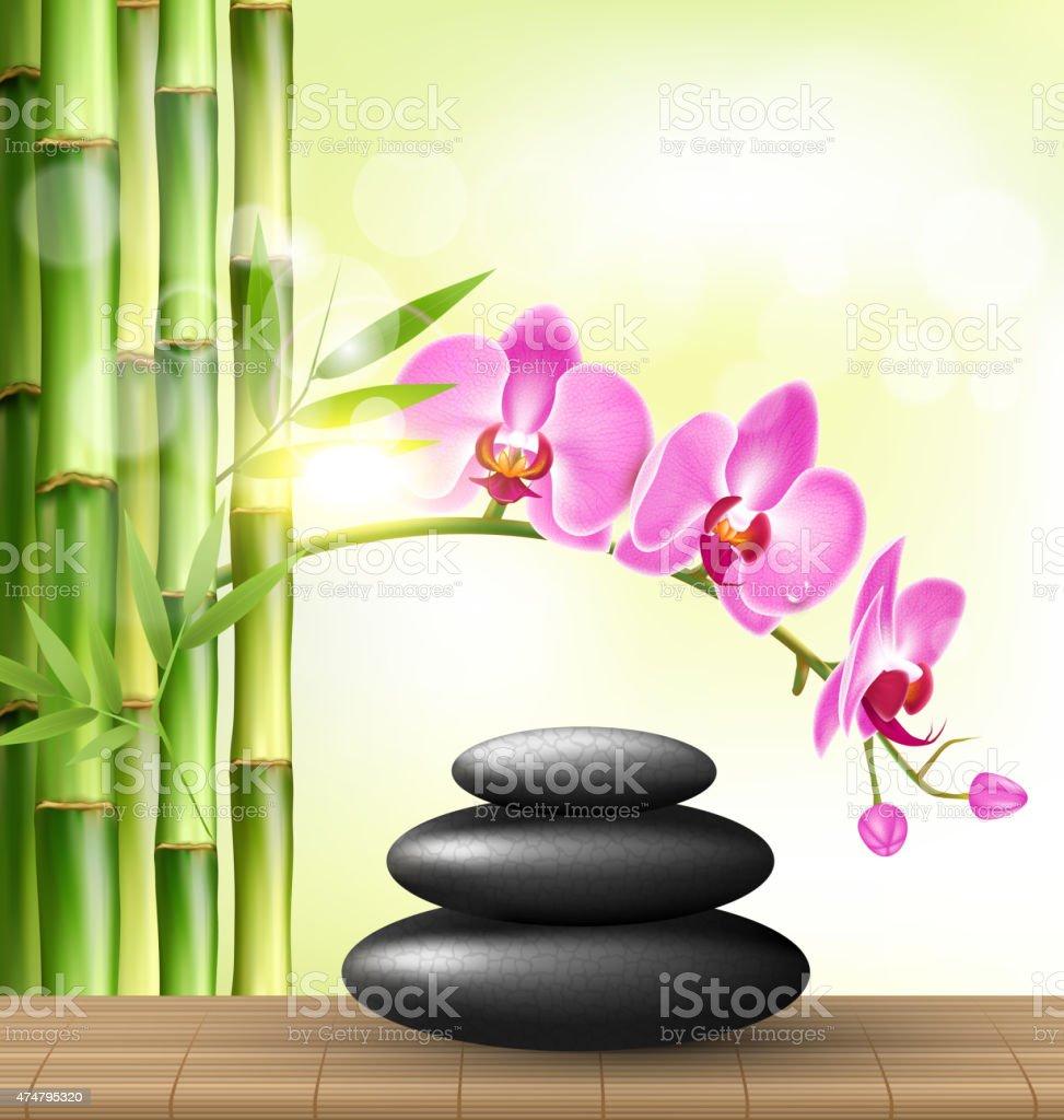 Stapel Von Spa Steine Mit Orchidee Rosa Blumen Und Bambus Stock