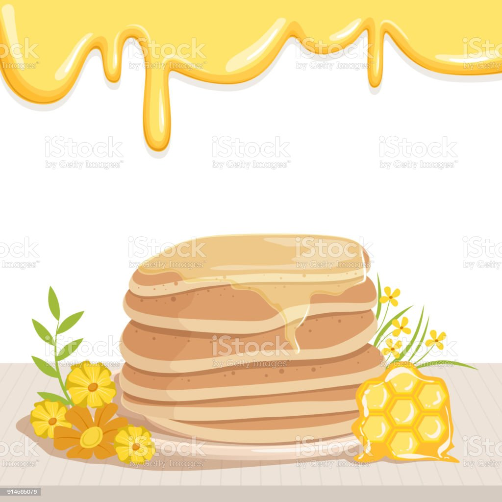 Stack Of Tasty Pancakes Watered With Honey Cute Yellow Flowers And