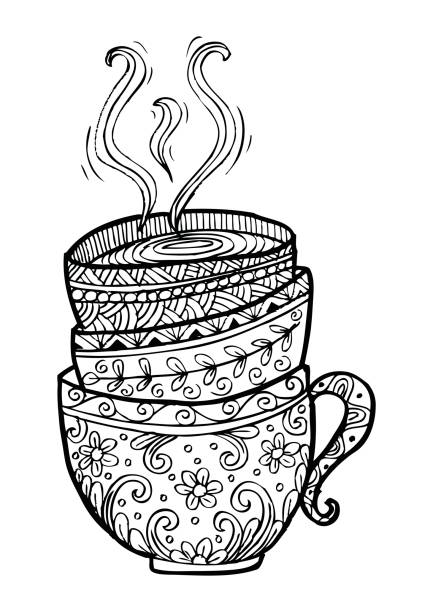 stack of tea cups. doodle style. - stacked tea cups stock illustrations, clip art, cartoons, & icons