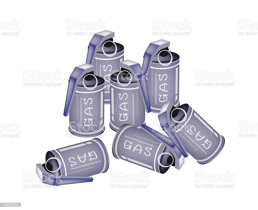 Stapel Tränengas Grenades auf weißem Hintergrund – Vektorgrafik