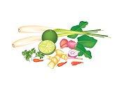Stack of Thai Food or Cuisine Ingredient