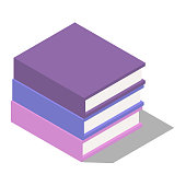 A stack of three books in the isometric