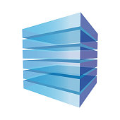 Stack of transparent blocks that makes a cube. Abstract geometric element for design