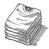 Hand-drawn vector drawing of a Stack Of T-Shirts Clothing. Five proper folded shirts. Black-and-White sketch on a transparent background (.eps-file). Included files are EPS (v10) and Hi-Res JPG.