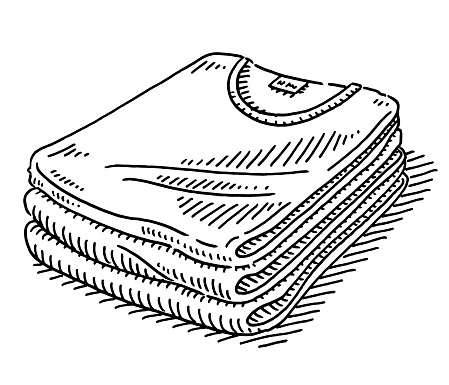 Stack Of T-Shirts Drawing