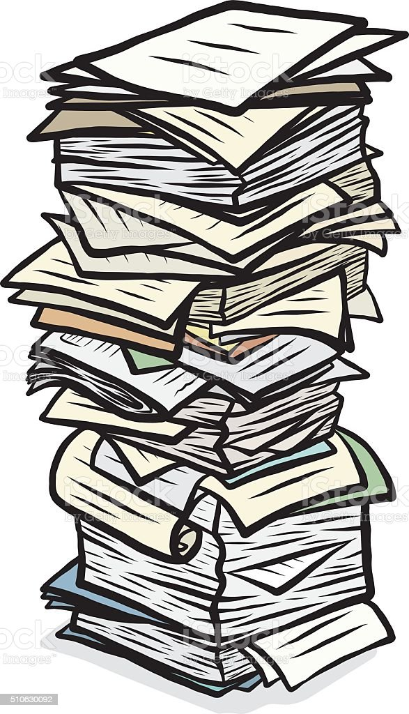 stack of used papers vector art illustration
