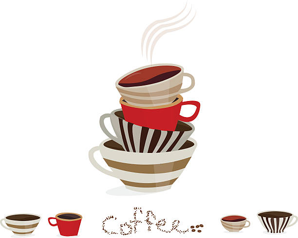 stack of vintage colorful coffee cups on a white background - stacked tea cups stock illustrations, clip art, cartoons, & icons