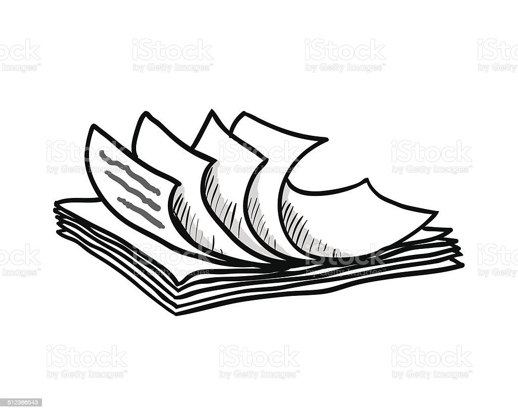 stack of white papers hand drawn style vector stock vector art