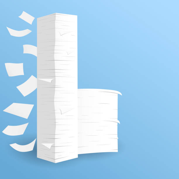 Stack of white sheets paper flying in blue room on floor Stack of white sheets paper flying in blue room on floor. stack stock illustrations