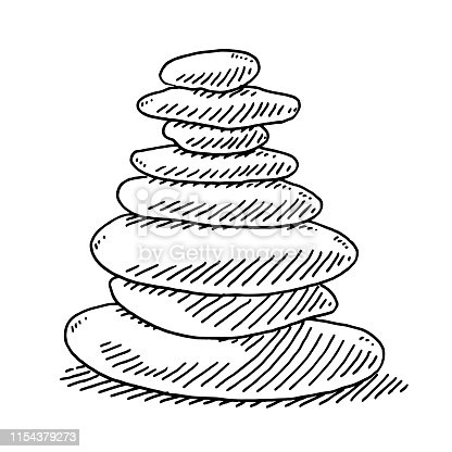 Hand-drawn vector drawing of a Stack Of Zen Stones. Black-and-White sketch on a transparent background (.eps-file). Included files are EPS (v10) and Hi-Res JPG.