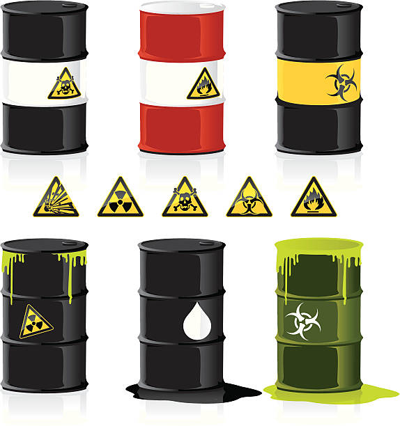 Stackable Barrels for example graphs Clean illustration of several barrels with hazardous content. They can easily be modified. Stickers,Barrels and Shadows are grouped in separate layers. oil drum stock illustrations